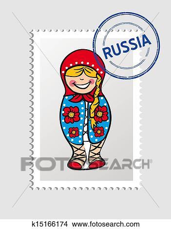 ロシア人 漫画 人 郵便 切手 クリップアート切り張りイラスト