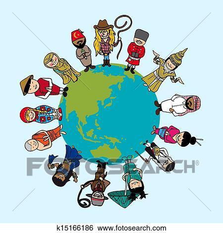 世界地図 多様性 人々 漫画 で 特有 Outfit ベクトル ファイル イラスト 層にされる ために 容易である Editing クリップアート