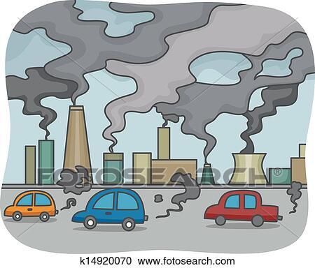 大気汚染 クリップアート切り張りイラスト絵画集 K14920070