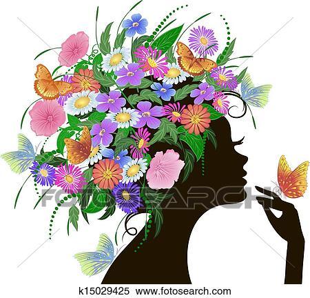 女の子 で 花 そして 蝶 クリップアート切り張りイラスト