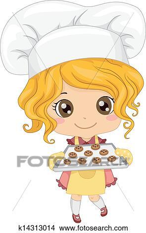 女の子 べーキングクッキー クリップアート切り張りイラスト絵画