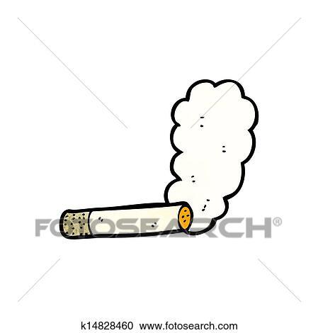 煙が出ているタバコ 漫画 クリップアート切り張りイラスト絵画