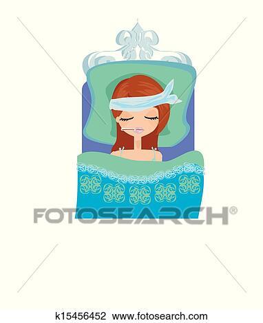病気 女の子 ベッドで横になる クリップアート切り張りイラスト
