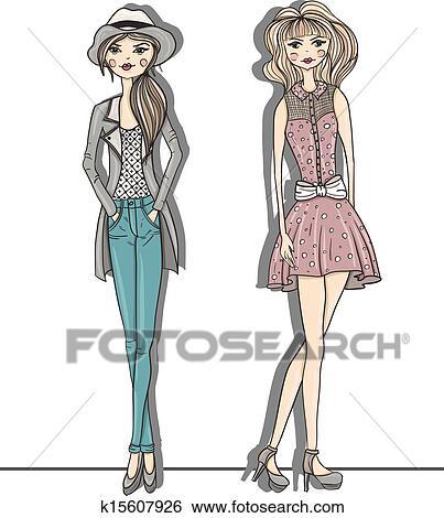 若い ファッション 女の子 イラスト クリップアート K15607926