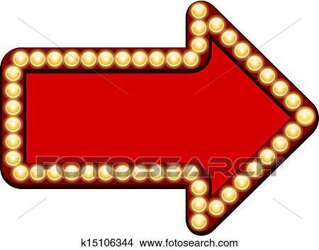 赤い矢印 で 電球 クリップアート切り張りイラスト絵画集