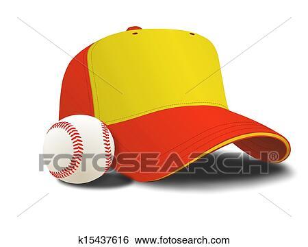 野球帽 そして ボール イラスト K15437616 Fotosearch