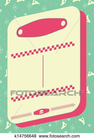 1950s Diner Style Background and Frame Clip Art