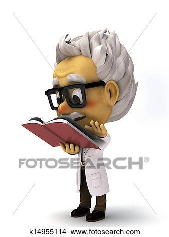 desenhos 3d caricatura professor lendo um livro k14955114
