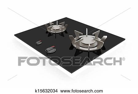 3d Gas Stove On A White Background