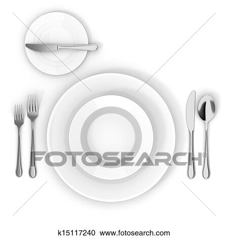 Table Setting With White Empty Plate Fork Knife And Spoon
