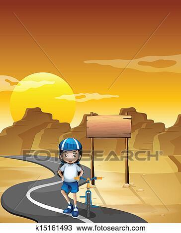A 女の子 そして 彼女 自転車 において 道 近くに