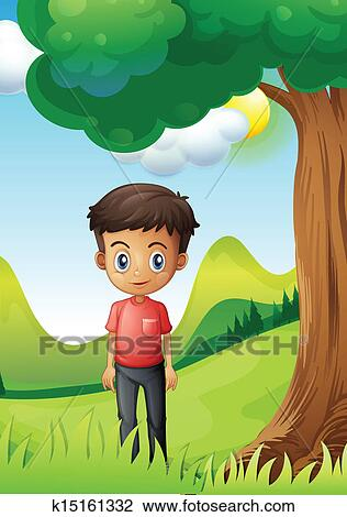 A boy under the shade of a big tree Clipart   k15161332 ...