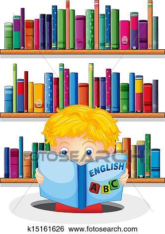 A Garcon Dans Les Bibliotheque Lecture Une Anglaise Livre Clipart