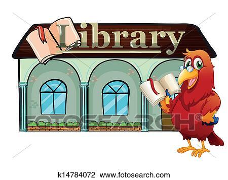 A Perroquet Tenir Livre Dehors Les Bibliotheque Clipart