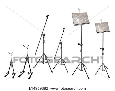 Clipart Of A Set Of Music Stand Microphone Stand And Guitar Stand