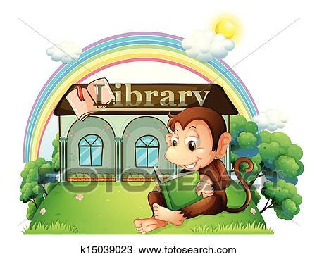A Singe Lecture Livre Dehors Les Bibliotheque Clipart