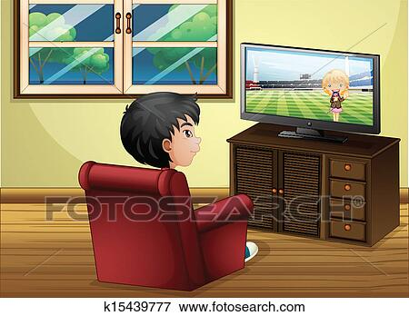 Clip Art Of A Young Boy Watching TV At The Living Room K15439777