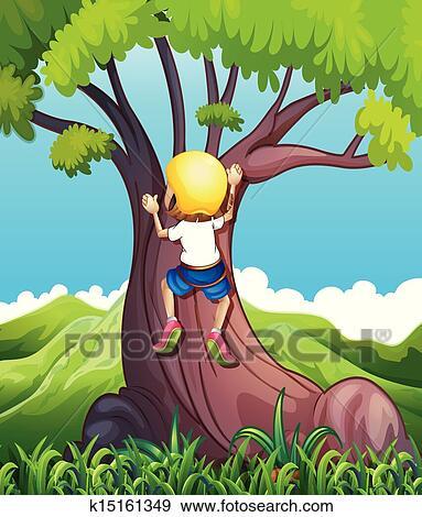 A Young Girl Climbing Clip Art K15161349 Fotosearch
