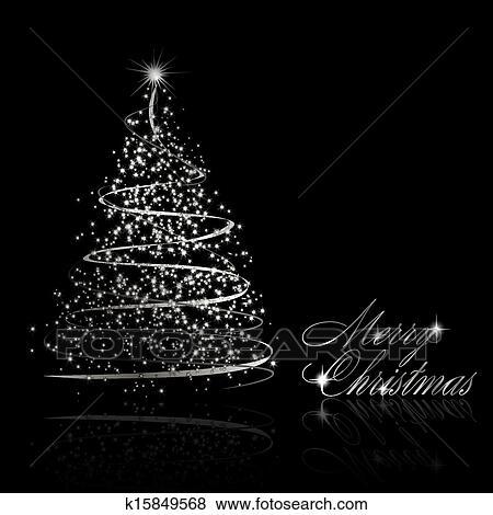 Schwarzer Weihnachtsbaum.Abstrakt Silberner Weihnachtsbaum Auf Schwarzer Hintergrund Clip Art