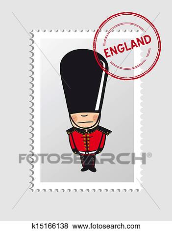 Anglaise Dessin Animé Personne Postal Timbre Clipart