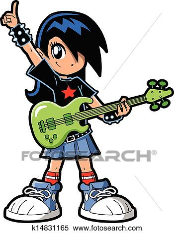 clipart of anime manga girl rock star k14831165 search clip art rh fotosearch com