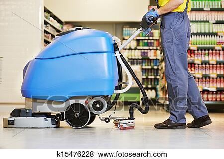 Bilder Arbeiter Putzen Boden Mit Maschine K15476228 Suche