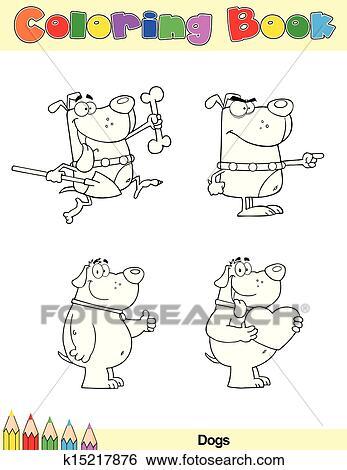 Clip Art - ausmalbilder, seite, hunde, zeichen, 1 k15217876 - Suche ...