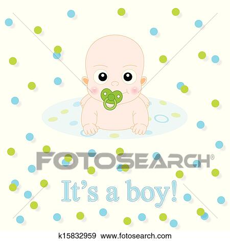 clip art of baby boy announcement card k15832959 search clipart