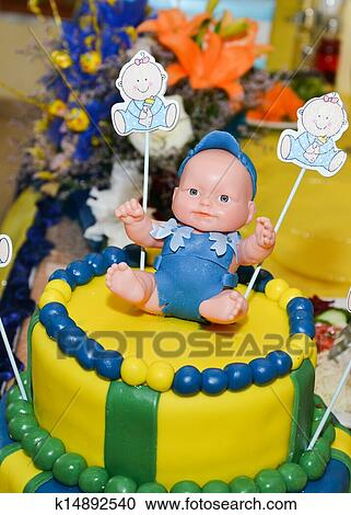Fabulous Baby Boy Birthday Cake With Cute Do Stock Image K14892540 Funny Birthday Cards Online Inifodamsfinfo