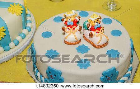 Surprising Baby Boy Birthday Cake With Cute Sh Stock Image K14892350 Personalised Birthday Cards Cominlily Jamesorg