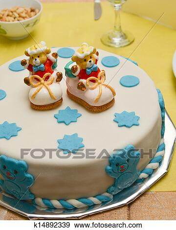 Surprising Baby Boy Birthday Cake With Cute Sh Stock Photo K14892339 Funny Birthday Cards Online Elaedamsfinfo