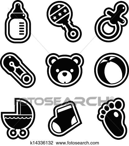 Clipart Of Baby Shower Icons K14336132 Search Clip Art