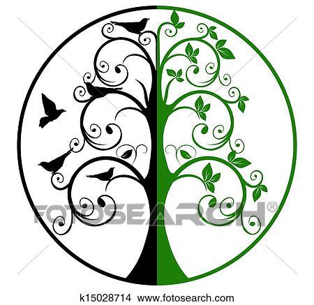 Clipart Baum Lebens Und Tod K15028714 Suche Clip Art