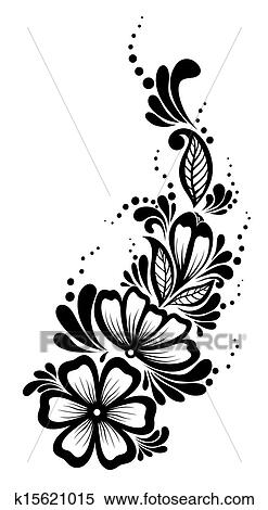 Black And White Flowers And Leaves Design Element. Floral Design Element In  Retro Style. Many Similarities To The Authoru0027s Profile