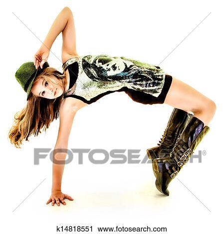 Beautiful Hip Hop Tween Girl Dancing Stock Image K14818551 Fotosearch