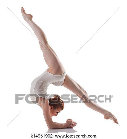 Bild, von, jung, schlanke, mädchen, machen, akrobatisch