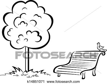 clipart of bird on park bench and tree contour k14851071 search rh fotosearch com