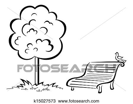 Bird On Park Bench And Tree Contour Drawing K15027573 Fotosearch