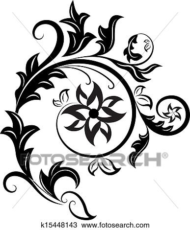 clipart of black and white floral design element isolated on white Clip Art Floral Corner Design black and white floral design element isolated on white background