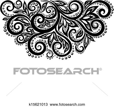 Clipart Of Black And White Lace Flowers And Leaves Isolated On White