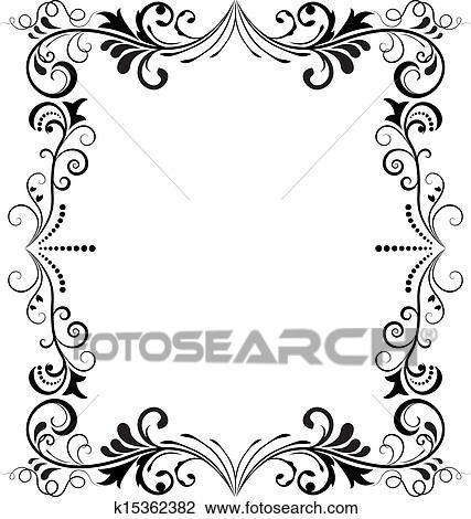 Clipart of Black and white vintage vertical vector frame. k15362382 ...
