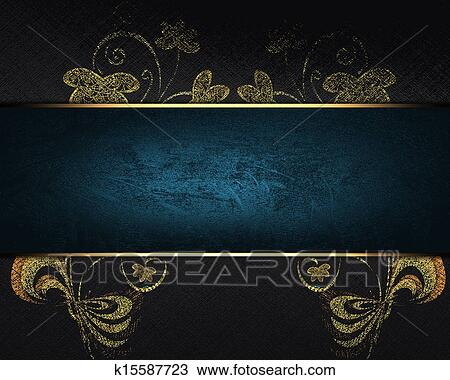 Drawing Of Black Background With Gold Flower And A Blue
