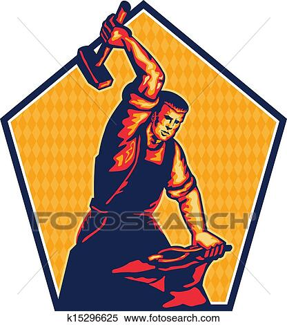 clipart of blacksmith worker striking sledgehammer anvil retro rh fotosearch com blacksmith clip art free blacksmith clipart free