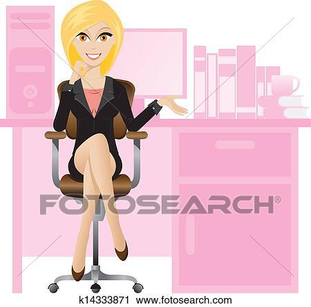 Clipart Blond Sekretärin K14333871 Suche Clip Art Illustration