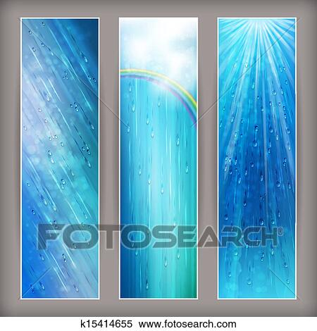 Blue Rain Banners Abstract Water Background Design Clipart