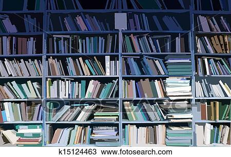 Drawing Of Bookshelves Full Of Books K15124463 Search Clipart