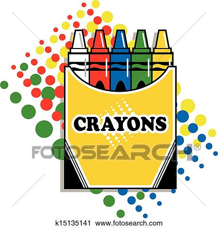 clipart of box of crayons k15135141 search clip art illustration