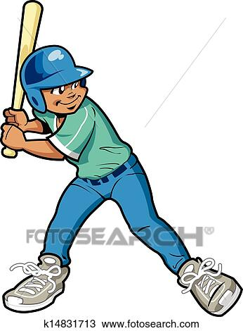 clipart of boy baseball batter k14831713 search clip art rh fotosearch com Baseball Player Clip Art Baseball Clip Art