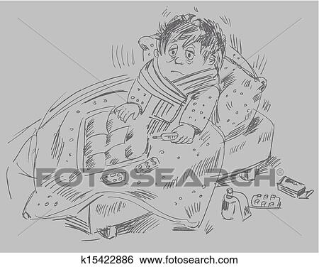 Clip art of boy became ill and was lying in bed k15422886 search the boy became ill and was lying in bed vector illustration altavistaventures Images