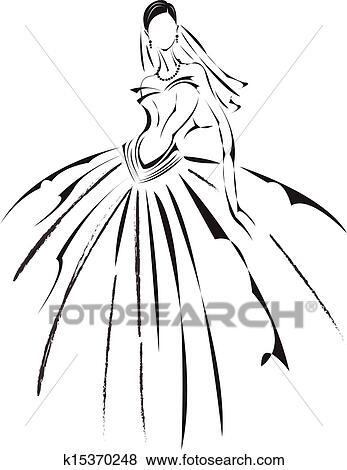 Clip Art Of Bridal Fashion K15370248
